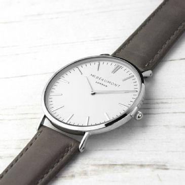 Men's Modern-Vintage Personalised Leather Watch In Ash